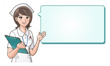 Young cute nurse with a speech bubble