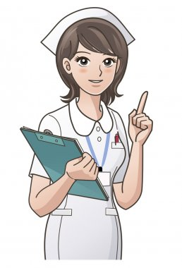 Young nurse pointing the index finger up, guiding information