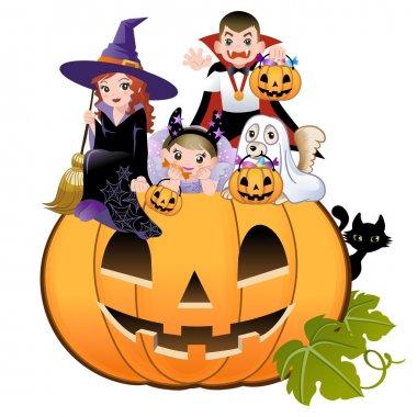 Halloween children wearing costume on huge jack-o-lantern, white background