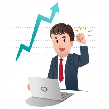 Successful businessman raising fist up in air, on graph chart indicating growing sales with big arrow