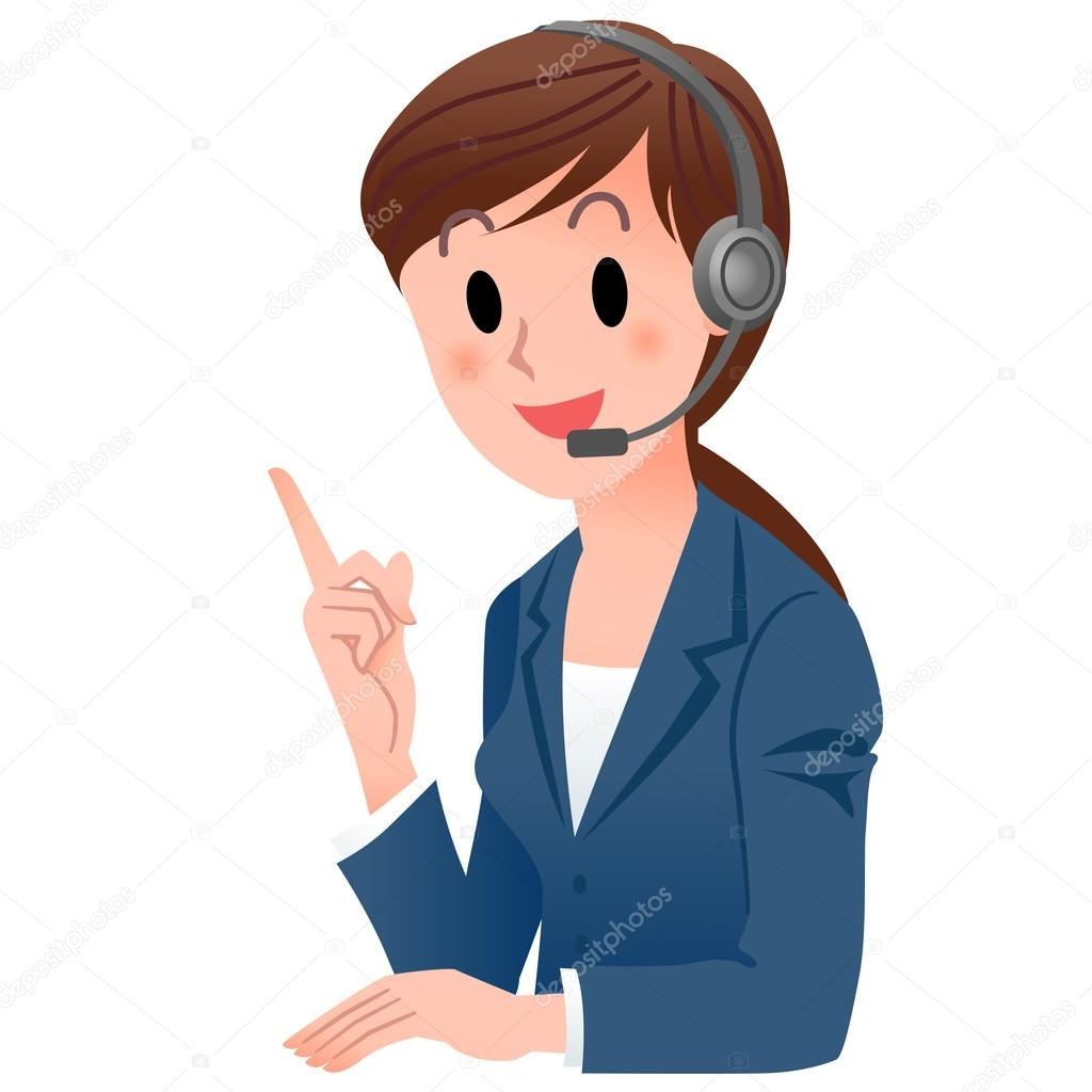 Customer service woman in suit pointing up with a smile