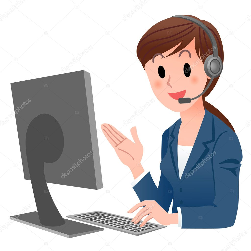Customer service representative at computer in headset