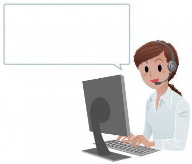 African American call center agent with speech bubble