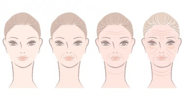 Aging process of beautiful woman