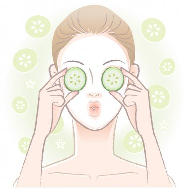 Young woman with facial mask applying sliced cucumber on her eyes