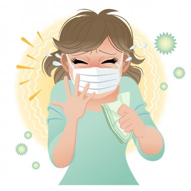 Woman suffering from pollen allergies sneezes. Gradients and blending tool is used. clip art vector