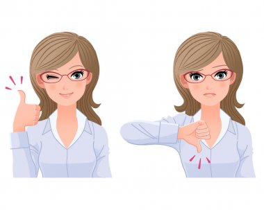 Eye-wear glasses woman with thumbs-up and down