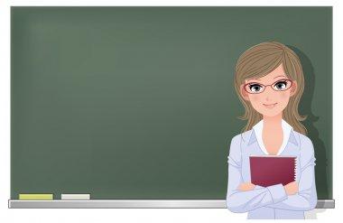 Eyewear glasses female teacher at blackboard