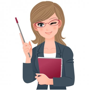 Female lecturer winking with pointer stick