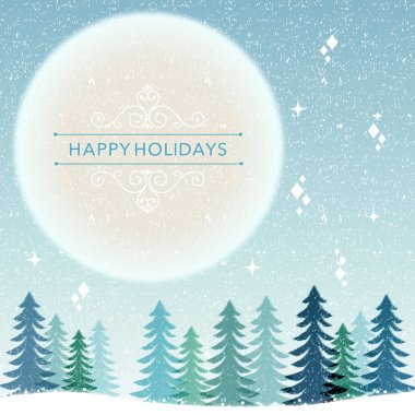 Winter Holiday background - snowing night