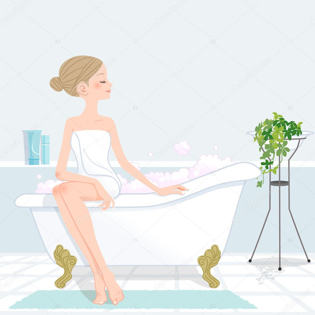 Youg woman sitting bathtub filled with pink bubble