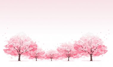 Line of cherry blossom tree background.File contains Clipping mask, Gradients, Transparent. stock vector