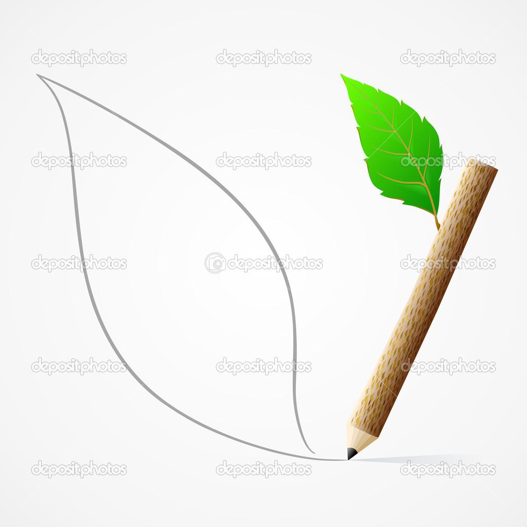 Pencil drawing leaf