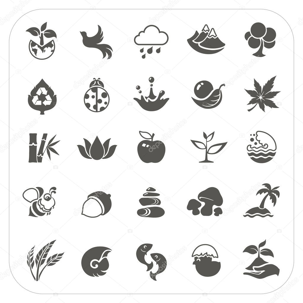Nature icons set on white background