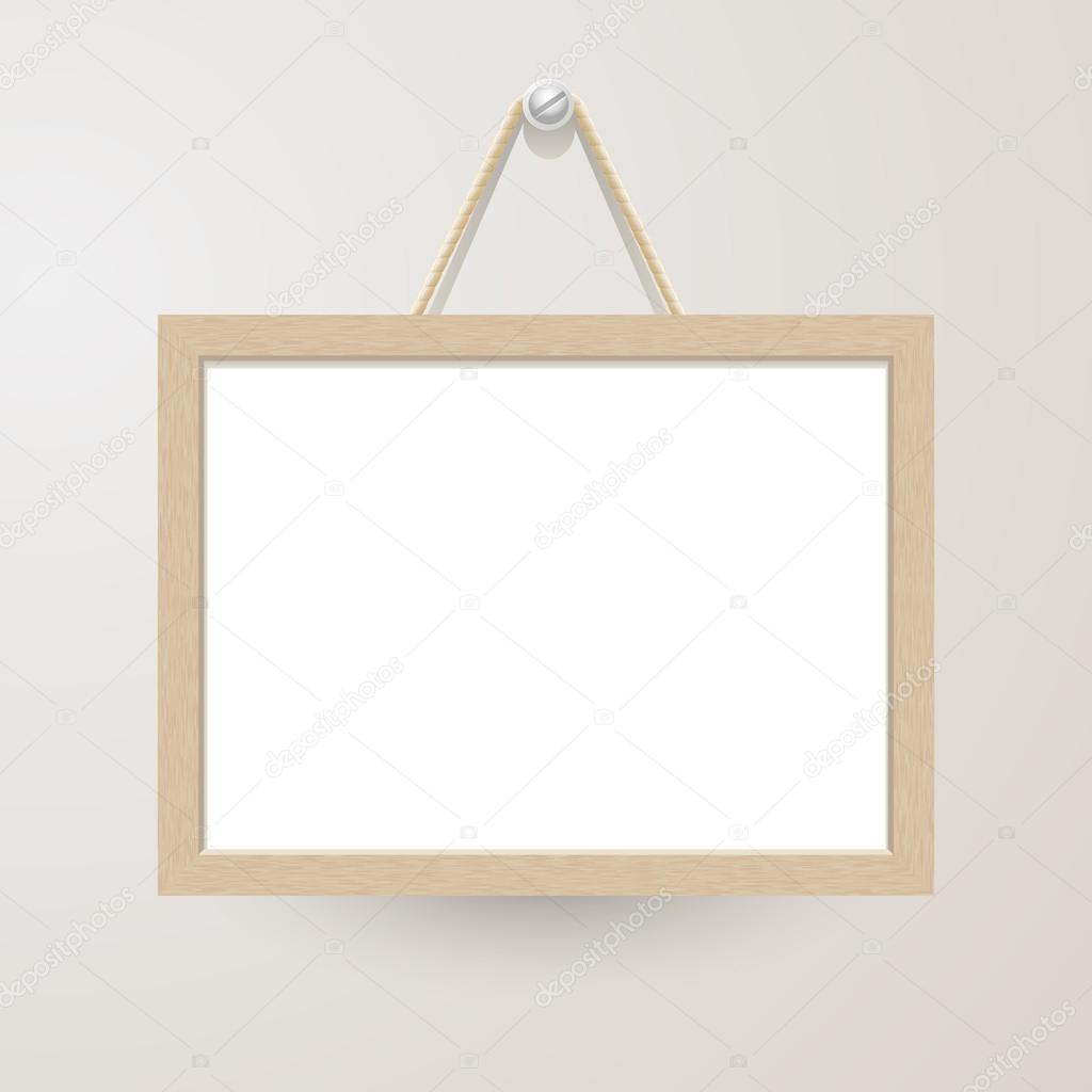 White board with rope hanging on a nail