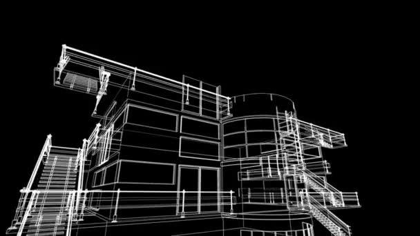 Épület vázlat építési animáció