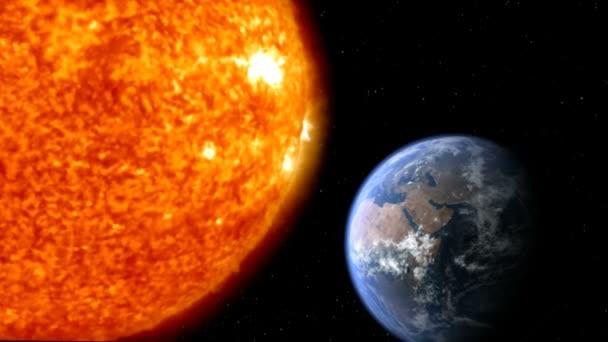 planeta Země s měsícem a sluncem v prostoru