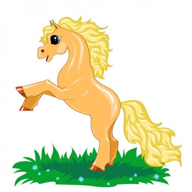 Small yellow horse in motion