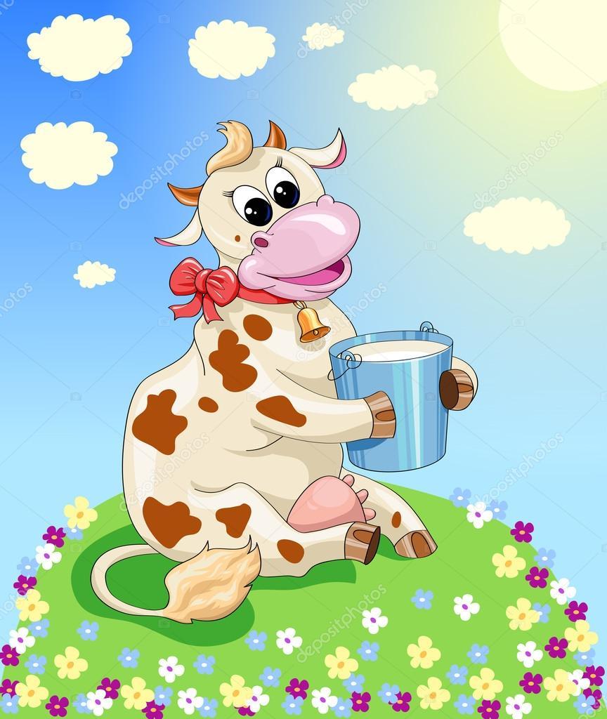 Картинка забавная. Забавная корова на лугу — Векторное ...