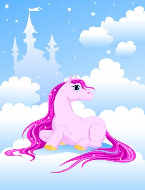 Magic pink pony on a cloud near the Castle clip art vector