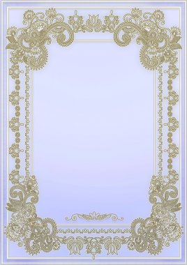 Gentle, lilac background with a gold framework