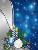 schöner Neujahrs- und Weihnachtshintergrund mit Kugeln und Sternen