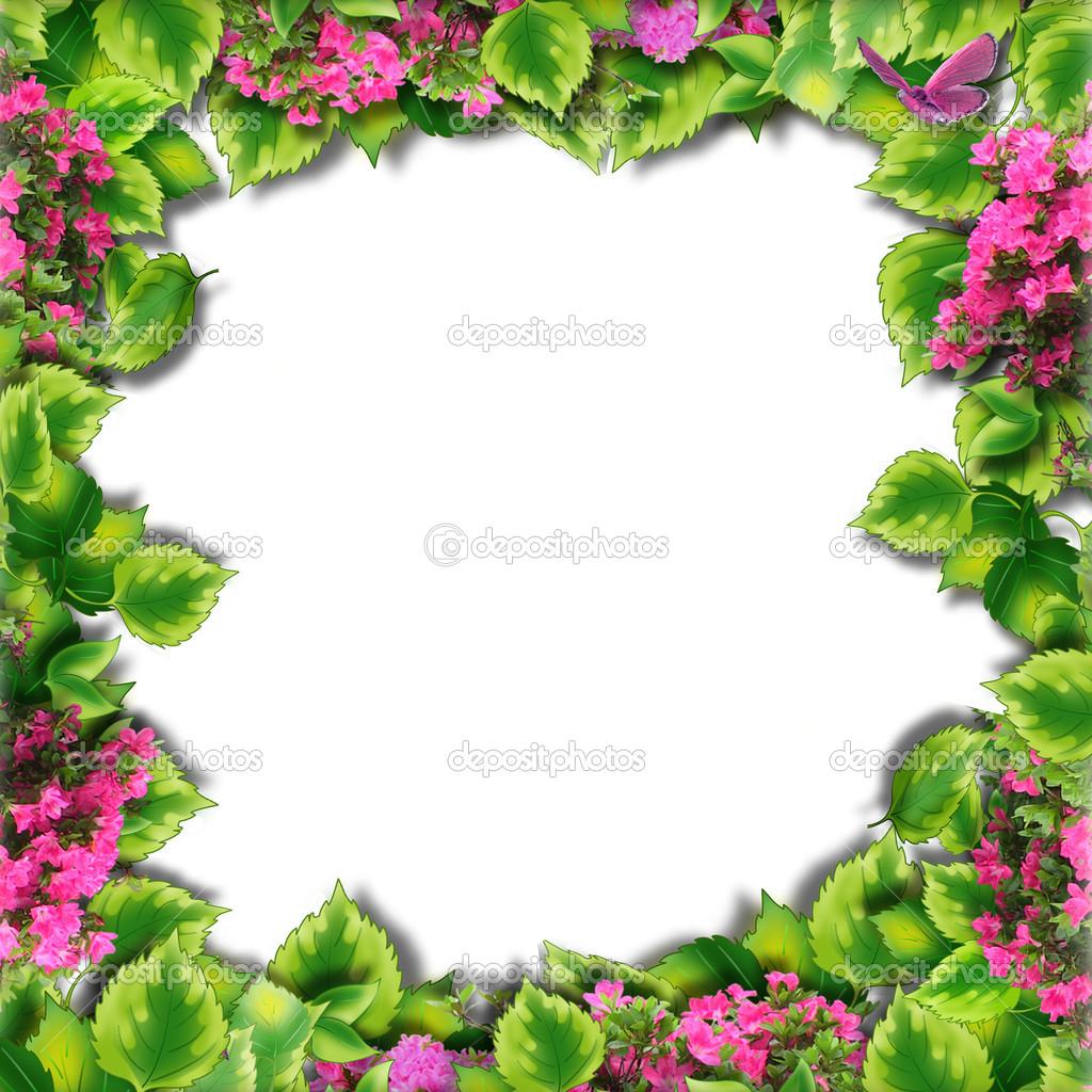 Marcos de la foto de fondo y hojas verdes — Fotos de Stock ...