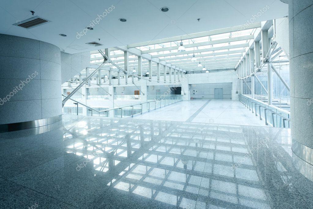 A long corridor, modern building interiors