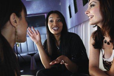 Multi-ethnic women talking at bar