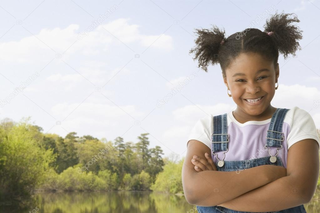 African American girl with arms crossed