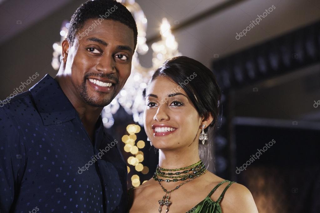 Close up of multi-ethnic couple smiling