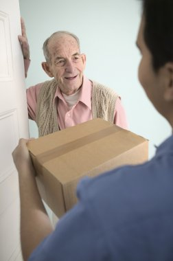 Elderly man receiving mail