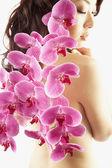 Fotografie asiatische Frau mit Blumen