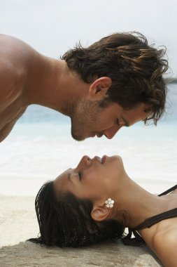 South American couple about to kiss