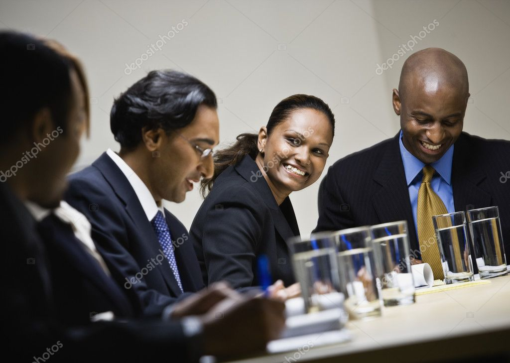Multi-ethnic businesspeople at meeting