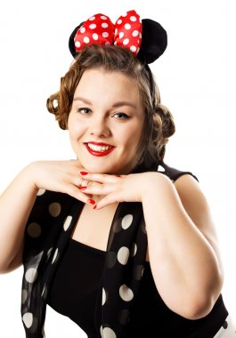 Pin up girl posing over white background  Minnie Mouse