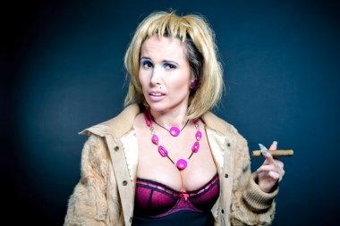 prostitute smoking over dark background