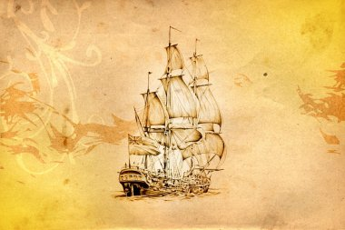 Antique boat sea motive drawing handmade