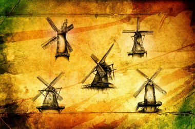 Windmill old retro vintage drawing