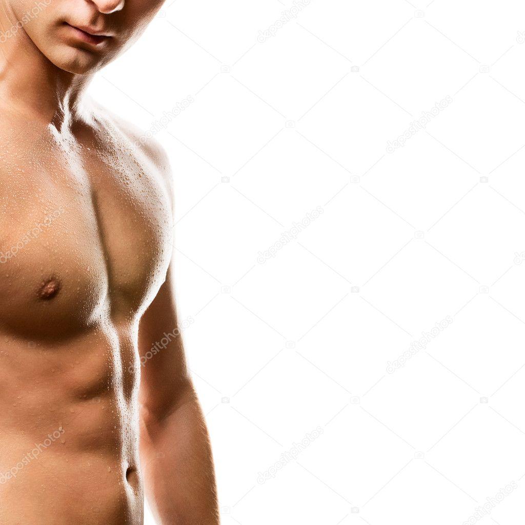 Naked man's chest on white background