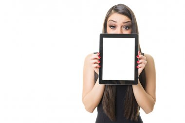 Businesswoman in black showing digital tablet blank screen