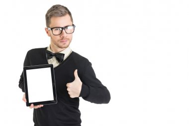 Businessman in black showing blank tablet screen