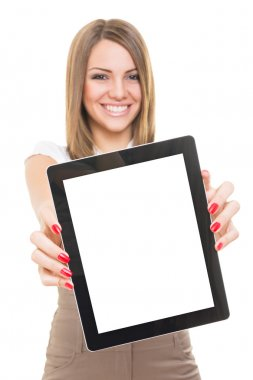 Cute young Caucasian businesswoman smiling showing blank tablet screen isolated on white background. Copy-space available on tablet screen and in the background. stock vector