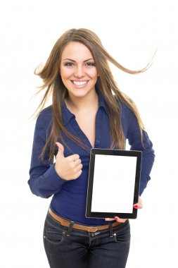 Cheerful female student showing digital tablet screen gesturing thumb up