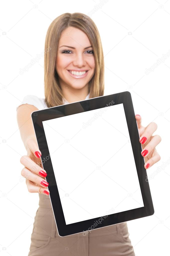 Cute young businesswoman smiling showing blank tablet screen