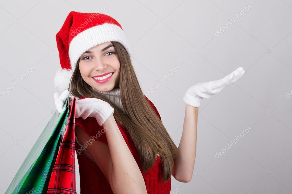 Teenager-Mädchen-shopping für Weihnachten — Stockfoto © big_like ...