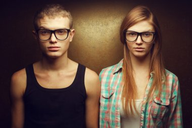Eyewear concept. Funny portrait of gorgeous red-haired (ginger)