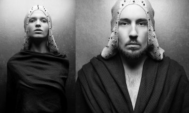 Collage of art-fashion portraits of a glamorous queen and king w
