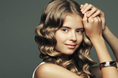 Beauty girl concept. Portrait of beautiful smiling teenage girl