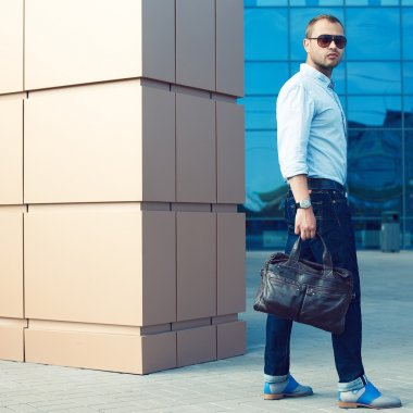 Metrosexual Man Concept. Portrait of attractive man in trendy ca